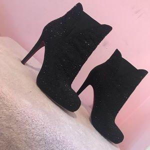 Luxury Rebel - Black Rhinestone High Heel Booties